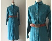 Vintage LL Bean cornflower blue Cotton corduroy shirt dress, classic wardrobe staple that gives you value for your money