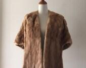 vintage Honey Blonde mink wrap, vintage mink stole cape shrug