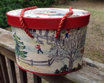 Grand ma Moses Barkcloth sewing box vintage grandma moses box