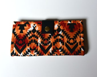 Tribal fabric wallet, cotton wallet, hand made wallet, gift for her, washable wallet, ladies wallet, aztec wallet, eco friendly wallet