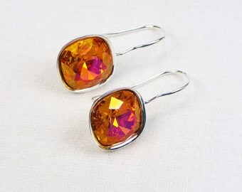 Astral Pink Swarovski Crystal Earrings - Cushion Cut - Silver Plated Settings - Gift For Her - Swarovski Jewelry - Multicolor