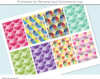 """Digital Collage Sheet Geometric Triangle 2.5"""" x 3.5""""  Images ATC ACEO Magnets Card Jewelry Holder Hang Tag Journaling Scrapbooking"""