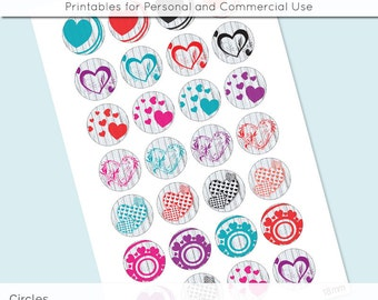Hearts Digital Collage Collage Sheet 18mm 16mm 14mm 12mm Circle Round on 4x6 8.5x11 Sheets for Earrings Pendants