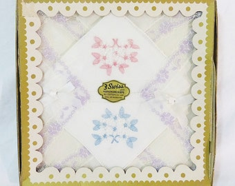 Vintage embroidered 3 swiss handkerchiefs floral cotton hankies set of 3