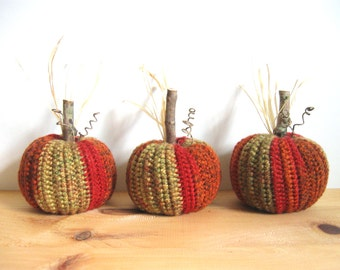 Fall Decor Crocheted Pumpkins Autumn Decor Halloween Decorations Harvest Thanksgiving Decor Rustic Home Decor Country Decor Farmhouse Decor
