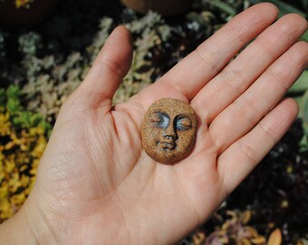 ceramic cabochon face cab little clay mask miniature cameo