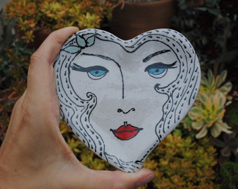 Ceramic dish small round heart girl little dish 1920s inspired