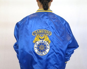 """35% OFF SUMMER SALE The """"Honorary Teamsters"""" Blue Baseball Jacket"""