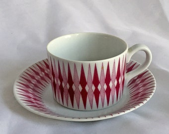 Vintage - Arabia of Finland - Pajazzo Pattern in Red - Demitasse Cup and Saucer