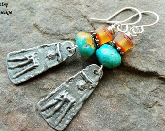 Tribal Primitive Pewter and Turquoise Rustic Charm Earrings, Baltic Amber Organic Earthy Dangle Bohemian Inspired Jewelry