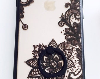 Texture print tattoo case with finger holder, iphone 7 or iphone 7 plus