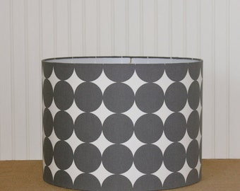 Modern Drum Shade - Polka Dot Drum Shade - Lamp Shade - Lampshade - Big Dot Lamp Shade - Grey Drum Shade - Pendant Lighting - Charcoal