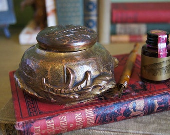 Antique Jennings Brothers Bronze Inkwell - Viking Ships