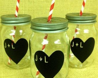 On SALE- Personalized Heart Chalkboard Labels for Mason Jars-  Chalk Labels- Wedding Favors, Heart Stickers, DIY Chalkboard Mason Jar