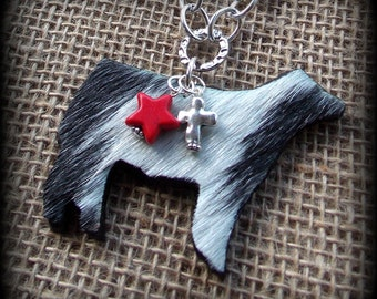 Hair on Hide Shorthorn Show Steer Cattle on Boho Style Leather & Chain Necklace with Charms Approx 29""