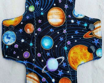 Planets and Stars Light Moderate Heavy Overnight Postpartum Cloth Pad Flannel Bamboo Fleece Knit Top AntiPill Back Hidden  PUL