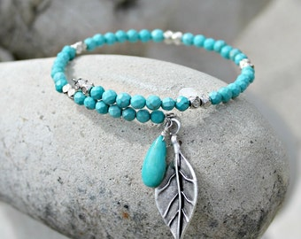 Turquoise Memory Wire Charm Bracelet, Boho Turquoise Jewelry, Southwestern Jewelry, Bohemian Bracelet, Silver and Turquoise