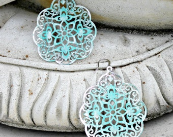 Aqua Silver Chandelier Earrings - Wedding Jewelry, Bohemian, Filigree, Rhodium Silver