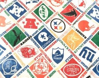 Vintage NFL Football Twin Bedspread Sears 1970s