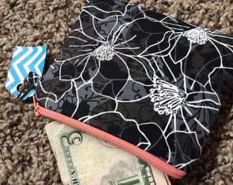 Black Flowers, flowers,  Zippered Pouch, Coin Purse