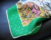 Vintage Rockabilly Scarf Rayon Horses Bronco Square Dance Country Western 1950s