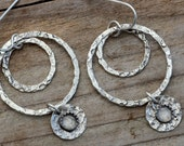Moonstone Earrings sterling silver hammered dangle hoop earrings rustic hoops gypsy bohemian tribal jewelry unusual unique artisan handmade