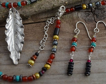 Silver leaf necklace pendant Bohemian southwestern jewelry natural stone beaded necklace tribal necklace turquoise onyx red jade, carnelian