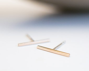 Long Bar Earrings Silver Studs Gold Posts Wire Earrings Solid Gold Sterling Silver Jewelry Valentine's Mother's Christmas Gift for Her Teen