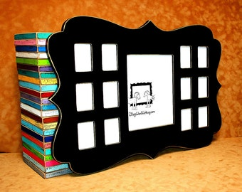 """School years frame, 1) 8""""x10"""" and 12) 2.5""""x3.5"""", First year frame, collage picture frame, K-12, multi photo frame, Multiple window"""