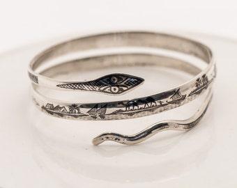 Vintage Sterling Silver Niello Double Coil Snake Bracelet, Serpent, Thailand, Siam