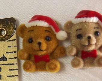 Lot Of 24 Flocked Miniature Christmas Teddy Bears w/Santa Hat - Craft Projects
