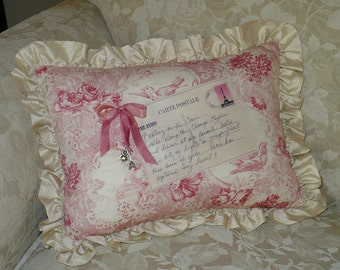 Toile Pillow, French Postcard, Decorative pillow, silk ruffle, Eiffel Tower, Last One, SALE