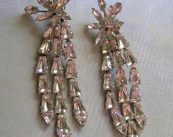Vintage Vendome Clear Rhinestone Earrings,  Old Clip Earrings, 1950's Vendome Earrings