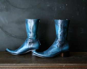 Aqua Blue Italian Made Boots Bohemian Fashion Boots With Thick Chunky Heel Vintage From Nowvintage on Etsy