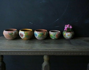 One or Four Colorful Mexican Flower Pots Small Hand Painted Vintage From Nowvintage on Etsy