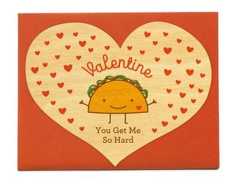 Hard Taco   Real Wood Love Card   Valentineu0027s Day Card   Valentine   Heart  Shape