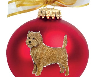 Cairn Terrier Dog Hand Painted Christmas Ornament - Can Be Personalized with Name