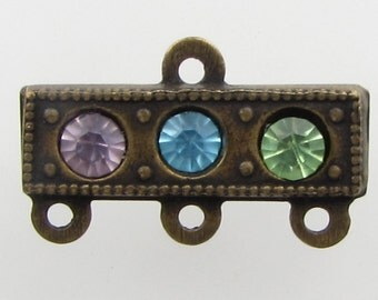 Vintage Rhinestone Connector Link Aqua Peridot Amethyst 3 to 1 Antiqued Brass Drop uvf0724 (1)