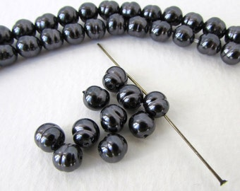 Vintage Japanese Glass Pearl Beads Black Baroque Rounds 6mm vgp0555 (10)