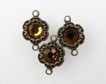 Vintage Bead Drop Connector Topaz Swarovski Rhinestone Charm Antiqued Brass Filigree Link Setting uvf0460 (3)