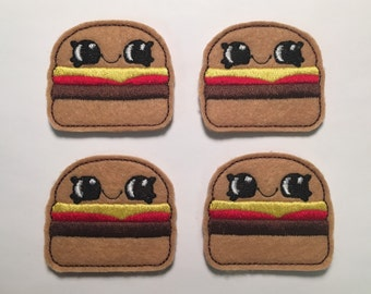 Hamburger Ketchup Mustard Burger Cheeseburger Felt Applique