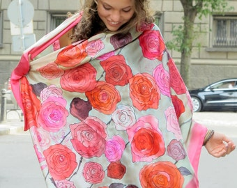 Silk Satin Scarf- Firefly Roses/ Hand painted silk scarf/ Floral scarf painted/ Red purple shawl/ Bridal shawl/ Luxury scarves/ Unique gifts