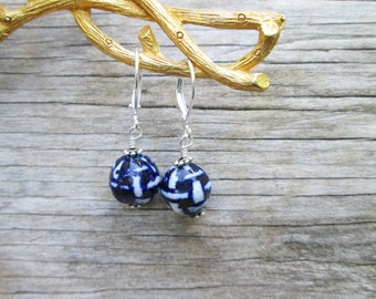 Navy Blue White Drop Earrings, Basket Weave Porcelain Sterling Silver Wire Wrapped