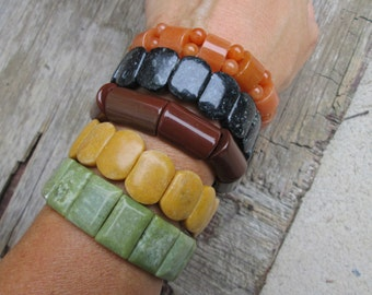 Harvest Colors Chunky Stretch Bracelet Set , Autumn Fall Olive Mustard Rust Orange Black  Sienna