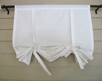 White Cotton 48 Inch Long Window Shade Tie Up Curtain Roll Up Swedish Blind Stagecoach Off White