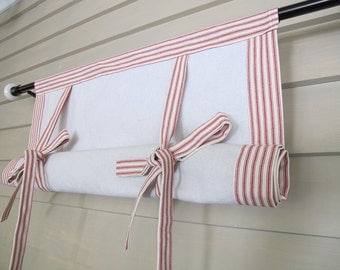 """Red Ticking 36"""" Long Roll Up Window Shade Mitered Banding Tie Up Rolled Curtain"""