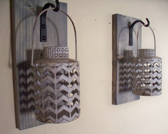 Rustic gray lantern pair (2) wall decor, bedroom wall decor,  wall sconces, housewarming gift, wrought iron hook, rustic wood boards