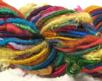 Handspun yarn, Feelin Groovy 60 yards, art yarn,  rainbow yarn, funky, corespun yarn, knitting supplies, crochet supplies Waldorf doll hair