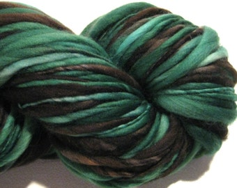 Handspun Yarn Erin 73 yards green yarn black yarn hand dyed merino wool waldorf doll hair knitting supplies crochet supplies