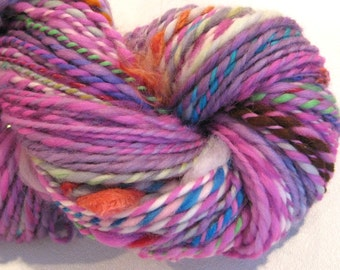 Handspun Yarn Waste Not Want Not B 145 yards rainbow yarn knitting supplies crochet supplies waldorf doll hair